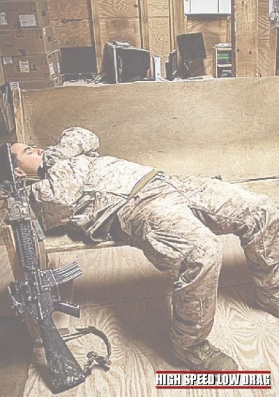 high speed low drag soldier sleeping